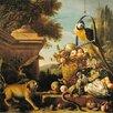 """Magnolia Box Gerahmter Kunstdruck """"Macaw and a Monkey"""" von Melchior De Hondecoeter"""
