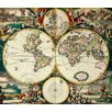 Magnolia Box Leinwandbild World Map, Kunstdruck von Frederick de Wit