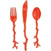 Madhouse By Michael Aram Madhouse 12 Piece Assorted Opaque Coral Cutlery Set