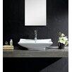 Fine Fixtures Modern Vitreous Square Vessel Sink Vessel Bathroom Sink with Overflow
