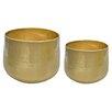 2-Piece Metal Pot Planter Set - Gold Eagle USA Planters