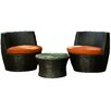 Aura Outdoor Products Sunbrella 3 Piece Seating Group with Cushion