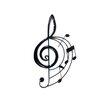 SKStyle Wanddekoration Violinschlüssel mit Noten
