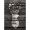 "Buy Art For Less Main Line Art & Design ""Lodge Deer on Black Wood"" by Claudia Schoen Graphic Art on Wrapped Canvas"