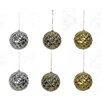 GSC, Inc Glitter Tiffany Beaded Metal Christmas Ball Ornament (Set of 6)