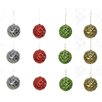GSC, Inc 12 Piece Glitter Tiffany Beaded Metal Christmas Ball Ornament