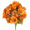 Admired by Nature 18 Stems Artificial Full Blooming Rose and Hydrangea with Greenery