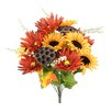 Admired by Nature 14 Stems Artificial Sunflower, Gerbera Daisy and Lotus Root Mixed Flowers Bush for Home Office, Wedding, Restaurant Decoration Arrangement