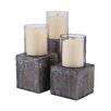 Breakwater Bay 3 Piece Mango Wood and Glass Hurricanes