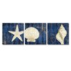 Breakwater Bay Coastal Moonlight Teal 3 Piece Painting Print on Wrapped Canvas Set