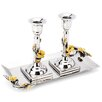Classic Touch Tervy Frangipani Candle Holder with Tray (Set of 2)