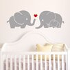 Decal the Walls Elephant Family with Red Heart Wall Decal