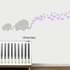 Decal the Walls Elephants with Colored Heart Bubbles Wall Decal