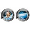Decal the Walls Astronaut and Planet Earth Porthole Fabric Wall Decal