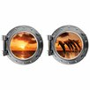 Decal the Walls Jumping Dauphins at Sunset Porthole Fabric Wall Decal