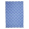 TheRugRepublic Zen Hand-Loomed White/Blue Area Rug