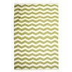 TheRugRepublic Chevron Hand-Loomed Ivory/Green Area Rug
