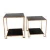 Sagebrook Home 2 Piece Metal & Mirror End Table Set