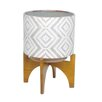 Barrymore Decorative Ceramic Pot Planter - Size: 14.5 inch High x 10.5 inch Wide x 10.5 inch Deep - Color: White/Gray/Chevron - Foundry Select Planters
