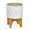 Barrymore Decorative Ceramic Pot Planter - Size: 6.75 inch High x 5.5 inch Wide x 5.5 inch Deep - Color: White/Gray/Chevron - Foundry Select Planters