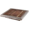 PTMD Collection Raw Wooden Square Plate with Aluminium Border
