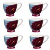 Portobello by Inspire Footed Peony Original Fine Bone China Mug (Set of 6)