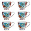 Portobello by Inspire Footed Carnival Flower Fine Bone China Mug (Set of 6)