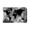 "Andrew Lee Leinwandbild ""Maps and Flags Black and White World Map"", Grafikdruck"
