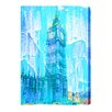 Andrew Lee London Crazy Ben Paint Blue Graphic Art Wrapped on Canvas