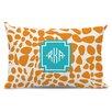 Whitney English Lizard Diamond Monogram Cotton Lumbar Pillow