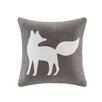 Madison Park Fox Embroidered Suede Throw Pillow