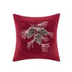Madison Park Pine Cone Embroidered Suede Throw Pillow