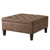 Madison Park Madison Park Lindsey Leather Tufted Square Cocktail Ottoman