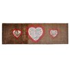 Pedrini LifeStyle-Mat 3 Hearts Runner in Brown and Red
