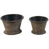 Ribbed Rustico 2-Piece Metal Pot Planter Set - Established 98 Planters