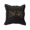 Brite Ideas Living Black Cat with Wiskers Throw Pillow