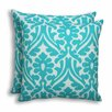 Brite Ideas Living Holly Ocean Outdoor S-Backed Throw Pillow (Set of 2)