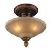 "Rosalind Wheeler Lacey 12"" 3 Light Semi Flush Mount in Gold"