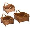 Bay Isle Home 3 Piece Wood and Rattan Basket Set