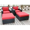 Bay Isle Home Scholtz 4 Piece Deep Chair Seating Group with Cushion