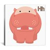 Zoomie Kids H is for Hippo Graphic Canvas Art