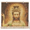 World Menagerie Kwan Yin with Lotus Bamboo Roll-Up Shade