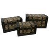 World Menagerie Sarabia Set of 3 Faux Leather Animal Print Trunks