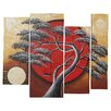 World Menagerie Crimson Sun Midnight Moon 4 Piece Framed Original Painting on Wrapped Canvas Set