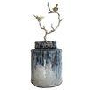 World Menagerie Terracotta Lidded Decorative Jar with Bird Branch Finial