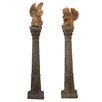 World Menagerie 2 Piece Cherubs on Pedestal Sculpture Set