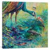 World Menagerie Peacock Diptych Panel II Painting on Wrapped Canvas