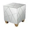 Mercer41 Aureolin Mirrored Cube Foot Stool