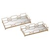Mercer41 2 Piece Bow Tie Mirrored Tray Set