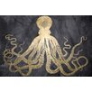 Mercer41 Squid Gold Graphic Art on Wrapped Canvas